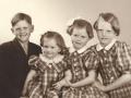 Børn af gårdmand i Kirkegård, Anders R. J. Kirkegaard (1905-1974) og Ingeborg J. Kirkegaard (f. Nakskov, 1915-2008), fra venstre Svend Erik Kirkegaard, Karen Margrethe 'Grethe' Kirkegaard, Annelise Kirkegaard og Birgit Kirkegaard.  Begyndelsen af 1950'erne.