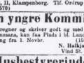 Året er 1928. Købmand Halkjær søger en ny medhjælper til sin forretning. Se, hvem det blev, og hvad der siden blev af ham, under menupunktet 'Vind i billeder' -> 'Månedens billede, juli 2015'.