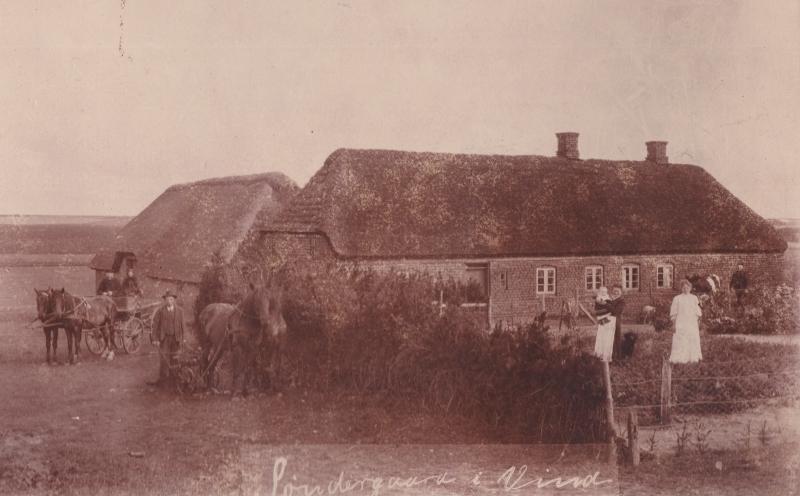 Søndergård, i dag Holstebrovej 32, fotograferet omkring 1910. Yderst til venstre på vognen sidder gårdejer Edvard Sophus Skovbo Jespersen (1849-1923) med sin hustru, Jensine Jespersen (f. Lauritsen, 1850-1918). Ligeledes til venstre, med ploven, angiveligt karlen Søren Nagstrup fra Idum. I baggrunden yderst til højre står Laust Peder Kristian Vingtoft Jespersen (1884-1944), gårdmand i Vingtoft. Hans hustru, Else Marie Mouridsen Jespersen (f. Spaabæk, 1883-1974) ses med hvidt forklæde med datteren Signe Elvira Vingtoft (f. Jespersen, 1908-1993) på armen. Helt i hvidt ses Ane Katrine Søndergaard Jespersen (1880-1957).