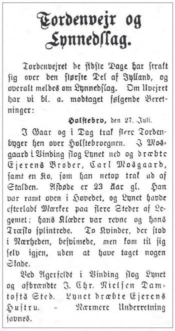 Holstebro Dagblads beretning om uvejret den 27. juli 1897.