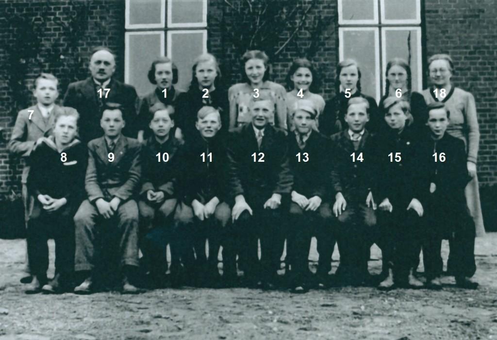 Skoleelever fra Vinding og Vind fotograferet forud for deres konfirmation i foråret 1940. I alfabetisk rækkefølge, piger og drenge: Karen Fonager Christensen, Vinding (2), Ketty Haunstrup, Vinding (3), Lydia Jensen, Vinding (ej identificeret), Marie Kristensen, Vinding (ej identificeret), Signa Alvilda Klejnstrup Madsen, Vind (ej identificeret) og Asta Nielsen, Vinding (4) samt Thomas Løgager Andersen, Vinding (ej identificeret), Peter Damgaard, Vind (ej identificeret), Hans Viktor Nedergaard Hansen, Vind (ej identificeret), Søren Kristian Jensen, Vinding (ej identificeret), Viggo Mikkelsen, Vind (ej identificeret), Carl Ejnar Mogensen, Vinding (ej identificeret), Niels Marinus Nielsen, Vinding (11), Jens Kjeld Pedersen, Vinding (usikkert 15), Samuel Pedersen, Vind (ej identificeret) og Peder Christian Poulsen, Vinding (ej identificeret). Desuden sognepræst Kristian Larsen (17) og hans hustru Anne (18).