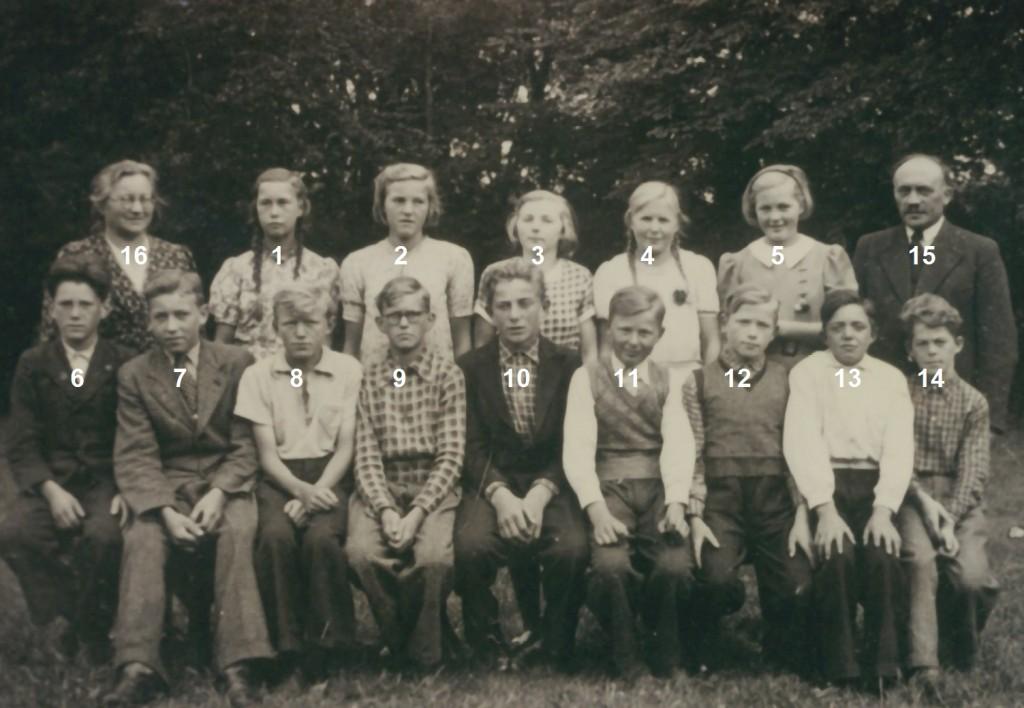Skoleelever fra Vind og Vinding fotograferet forud for deres konfirmation i efteråret 1940. I alfabetisk rækkefølge, piger og drenge: Agnete Albertsen, Vind (2), Jenny Marie Andersen, Vind (1), Olga Margrethe Ernst Fischer, Vinding (ej identificeret), Ellen Kathrine Jensen, Vind (5) og Lilly Nielsen, Vinding (ej identificeret) samt Laurids Christian Vestervang Bertelsen, Vind (14), Gunnar Halkjær, Vind (9), Jens Hugo Møller Jensen, Vind (11), Karl Jensen, Vind (10), Niels Arne Jensen, Vinding (ej identificeret), Godtfred Rosenberg Jespersen, Vinding (ej identificeret), Svend Aage Kristensen, Vinding (ej identificeret), Johannes Nørregaard Poulsen, Vind (8) og Verner Elias Ravnsbæk, Vind (12). Desuden sognepræst Kristian Larsen (15) og hans hustru Anne (16).