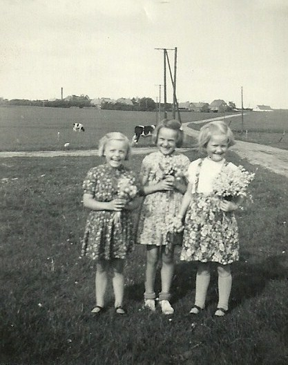 Tre små Troldtoft-kusiner, fra venstre Gerda, Gunhild og Asta.