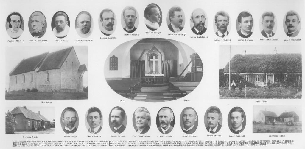 Prospekt fra omkring 1920 visende præster ved Vind kirke samt lærere ved Vind, Straasø og Agerfeld skoler, sidstnævnte hjemmehørende i Vinding sogn. Bemærk i nederste række, nummer fire fra venstre, Agerfeld skoles første lærer, J. C. Christensen (1856-1930), der senere, i årene 1905-1908, bestred embedet som dansk konseilspræsident, dén tids statsministerpost.