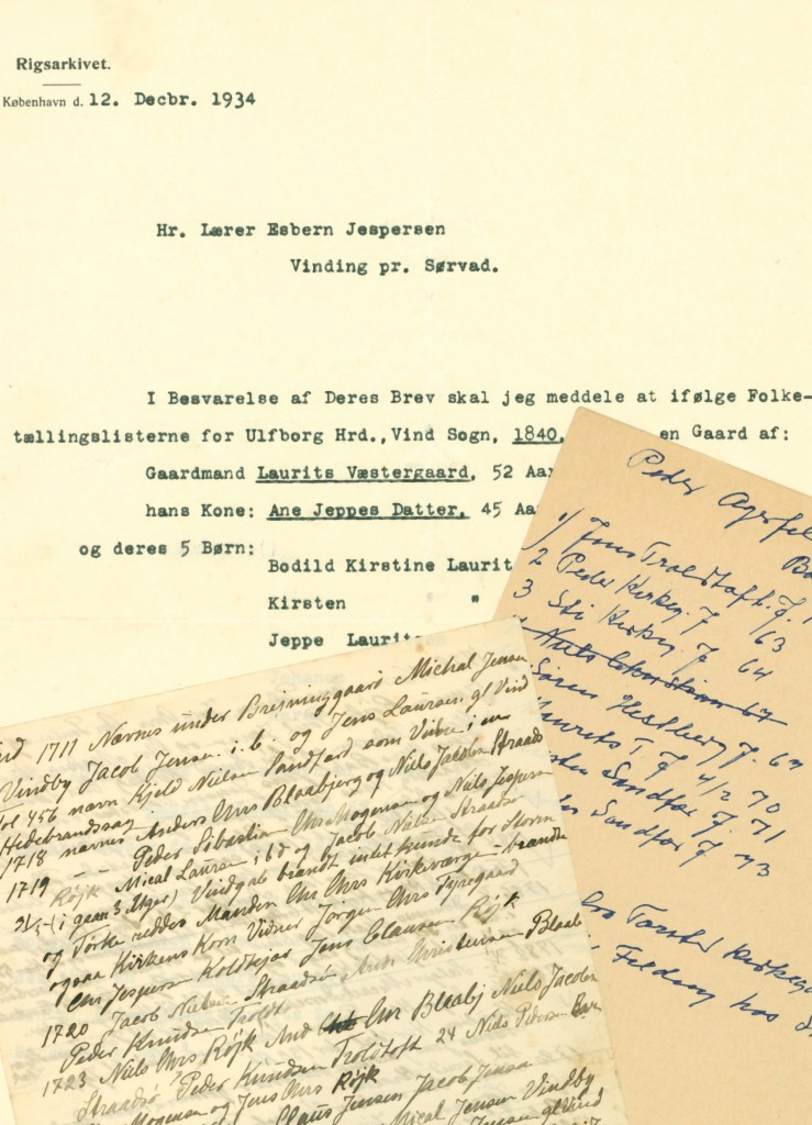 Uddrag af Esbern Jespersens notater og korrespondance.