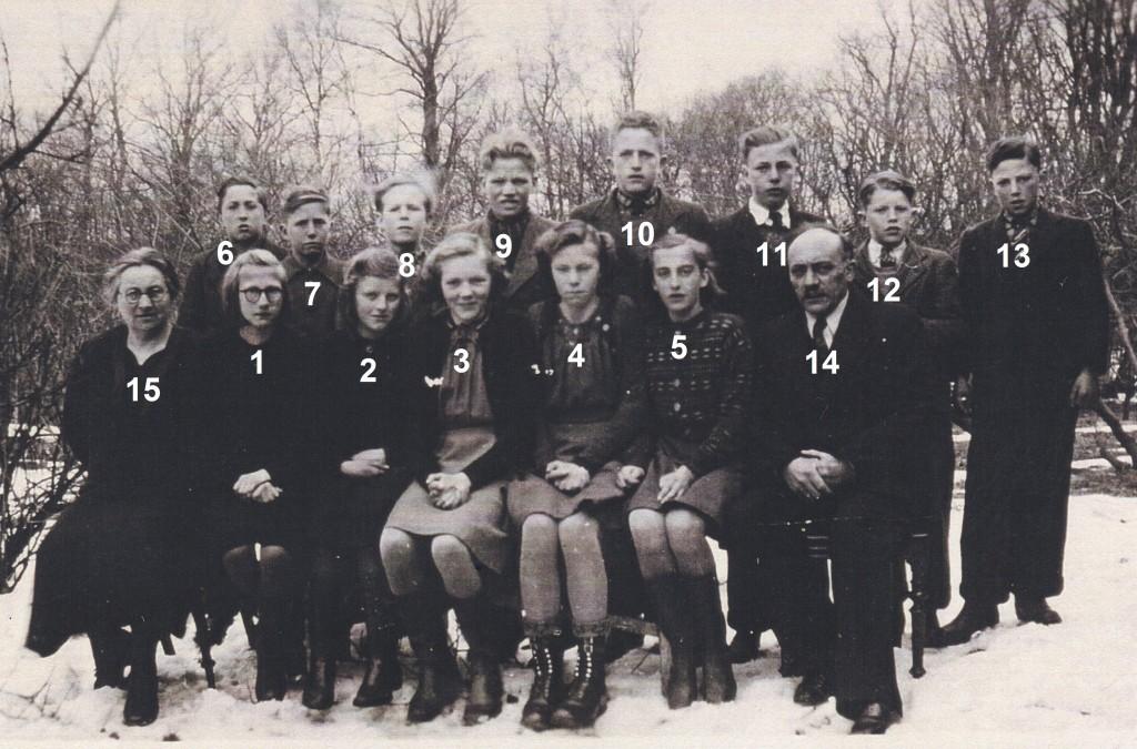 Skoleelever fra Vinding og Vind fotograferet forud for deres konfirmation i foråret 1941. I alfabetisk rækkefølge, piger og drenge: Karen Kirstine Christensen (4), Nanna Kristensen (5), Nancy Brunsborg Nielsen (3), Hilda Damtoft Poulsen (2) og Anna Sørensen (1) samt Anders Boutrup Andersen (11), Magnus Bilgrav (7), Carl Hoffmann Hansen (13), Gunnar Kristian Jensen (10), Johannes Rosenberg Jespersen (12), Karl Evald Klejnstrup (8), Hans Schmidt (6) og Frank Egon Sørensen (9). Desuden sognepræst Kristian Larsen (14) og hans hustru Anne (15).