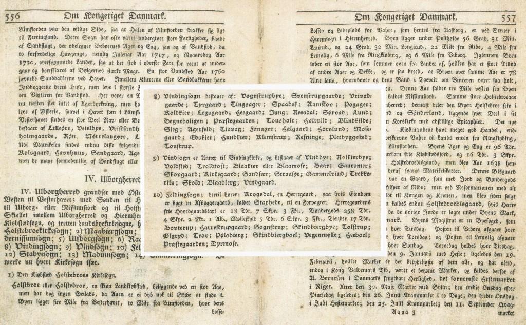 Vind sogn, som det beskrives i 1777. Klik på billedet for at se det i stort format.