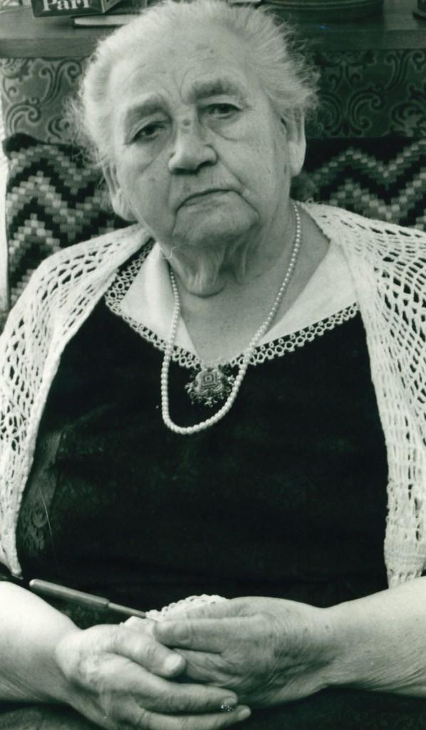 Karen 'Hedegaard' Poulsen (1888-1982) fotograferet forud for sin 90-års fødselsdag i 1978.