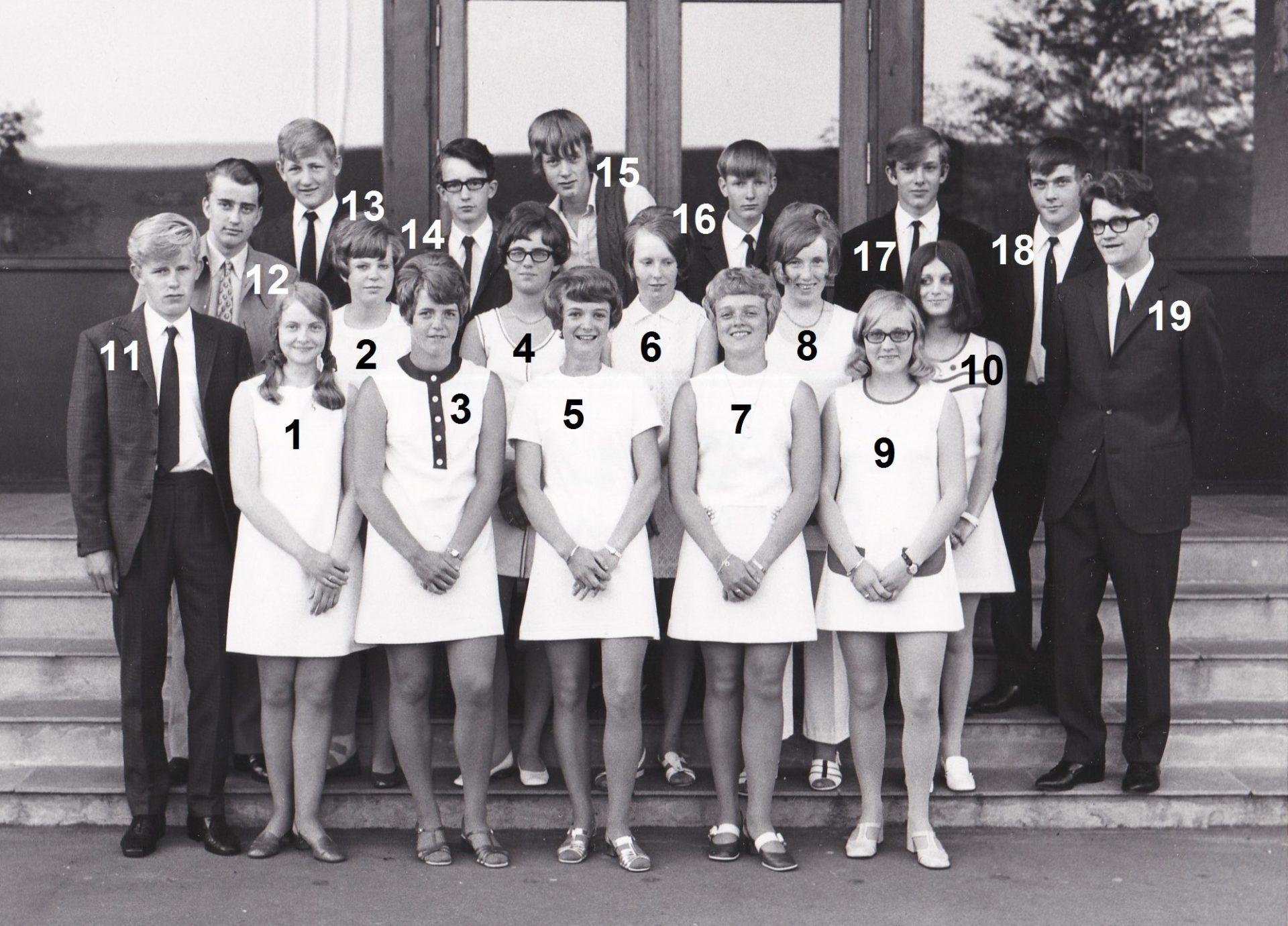 Vildbjerg Skoles 10. klasse, 1970.