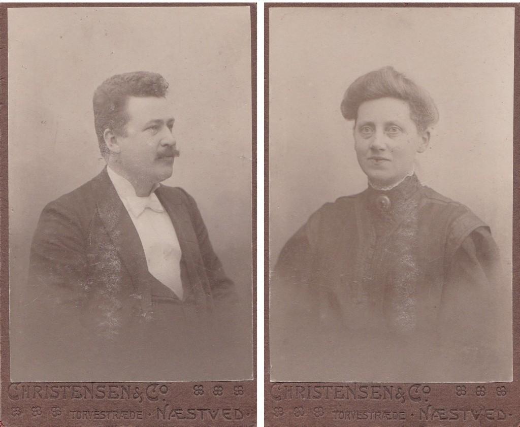 Lærer ved Vind Skole i årene 1902-1904, Richard Villiam Svalmstrup (1876-1950) og hans hustru Ellen Marie Svalmstrup (f. Hansen, 1876-1943). Årstal ukendt.