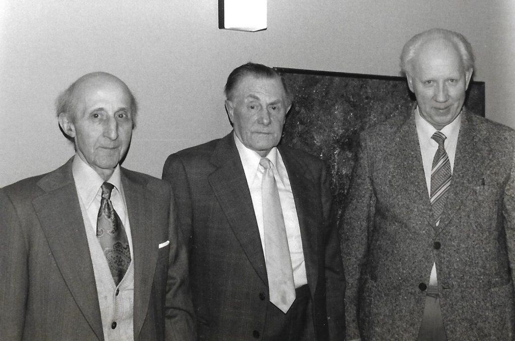 Tidligere landboforeningsformænd, fra venstre Ivar Højbjerg Andersen, Vind (formand 1945-1949), Erling Møller, Ørnhøj (formand 1949-1954) og Carl Fonager, Vinding (formand 1954-1955). Jens Andersen, Vinding (formand 1955-1959) var ikke til stede ved jubilæumsfesten.