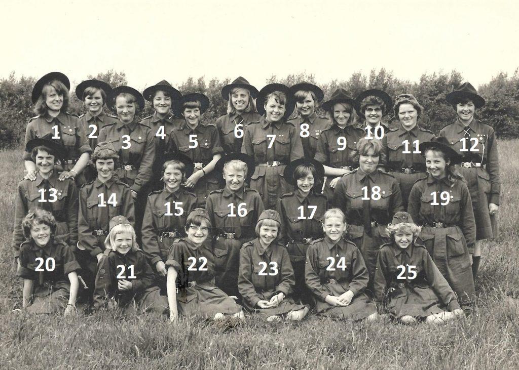 KFUK-spejdere fra Vind, angiveligt fotograferet ved KFUKs sommerlejr i Ulfsund i 1963.