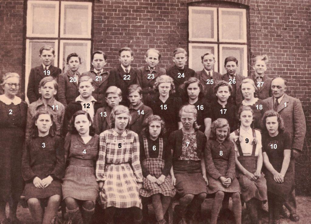 Konfirmander fra Vinding og Vind sognemenighed fotograferet forud for deres konfirmation i 1945. Se navnene nedenfor.