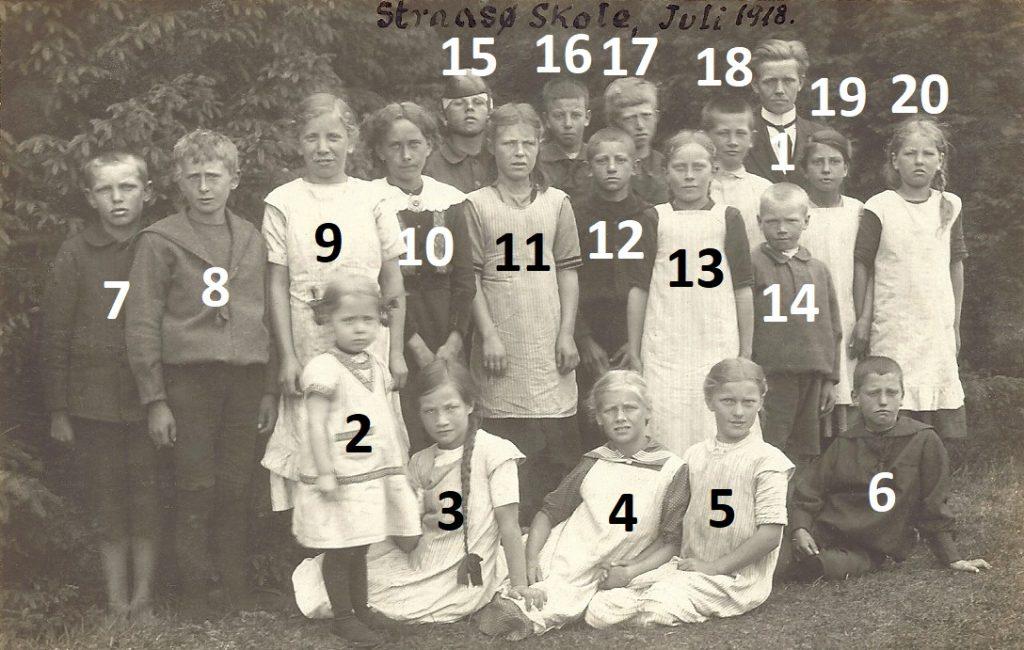 Stråsø Skole, sommeren 1918.