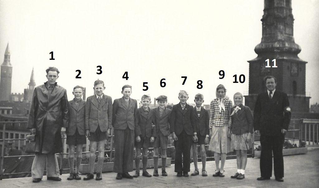 Elever fra Stråsø Skole på besøg i København omkring 1950. Billedet er taget på taget af Daells Varehus. I baggrunden til venstre ses rådhustårnet, til venstre Skt. Petri kirketårn.