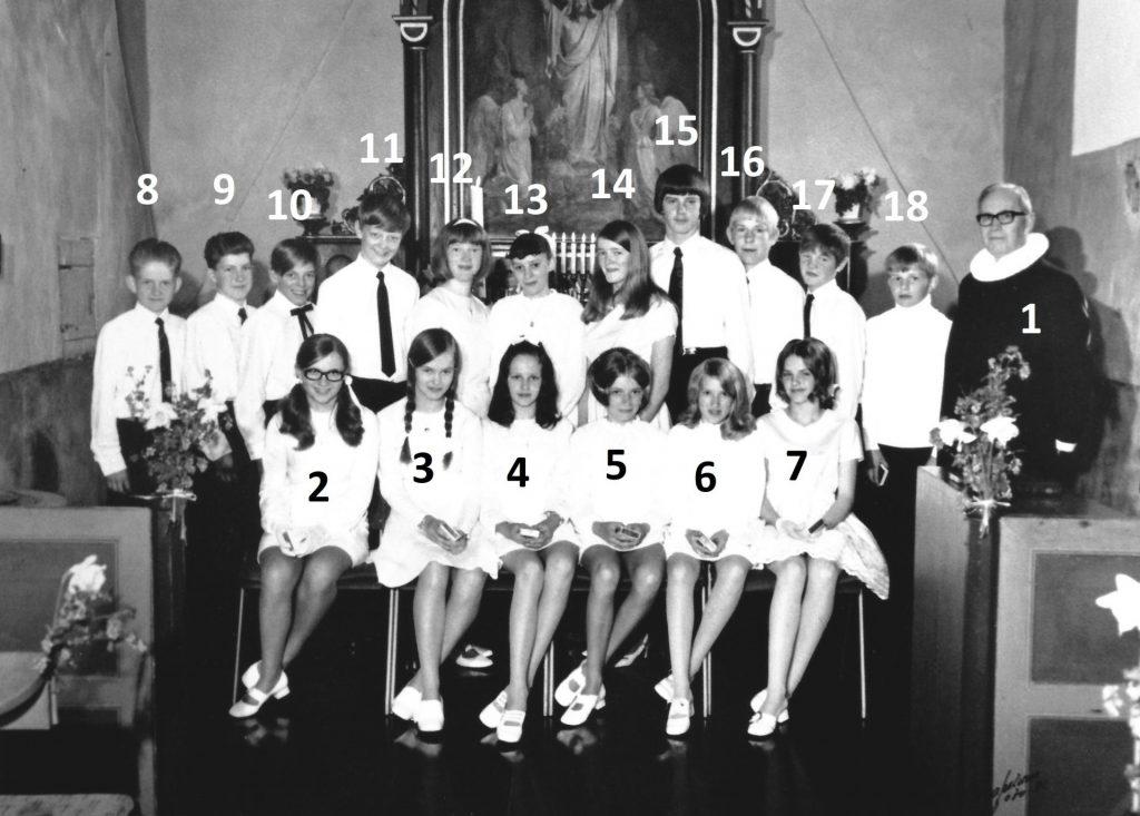 Sognemenighedens konfirmander i 1971. Klik på billedet for at se det i stort format.