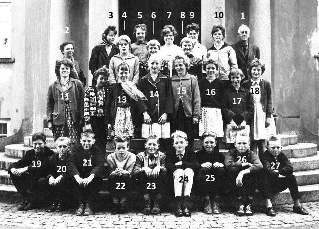 Elever fra Vind Skole på udflugt til København i begyndelsen af 1960'erne. Billedet er taget på trappen foran feriehjemmet på Strandvejen i København, drevet af foreningen 'Provinsbørns Ferieophold'.