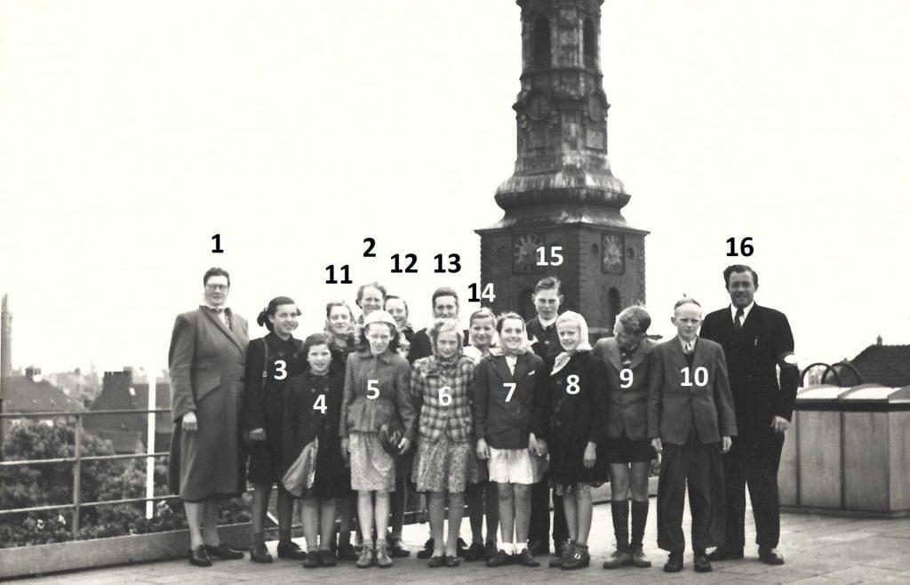 Elever fra Agerfeld Skole på besøg i København omkring 1950. Billedet er taget på taget af Daells Varehus. I baggrund ses Skt. Petri kirketårn. Klik på billedet for at se det i større format.